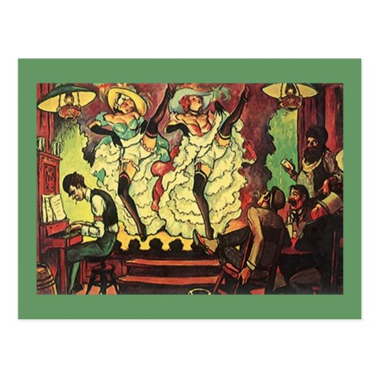 Raunchy Saloon Gals Dancing On Stage Postcard