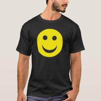 Big Smiley Face 80s 90s Raver Black T-shirt