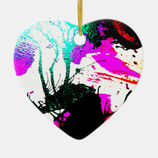 Rave neon party abstract ceramic heart decoration