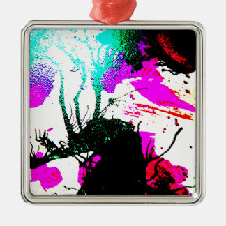 Rave neon party abstract Silver-Colored square decoration