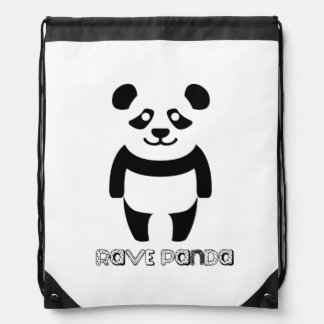 Rave Panda Drawstring Bag
