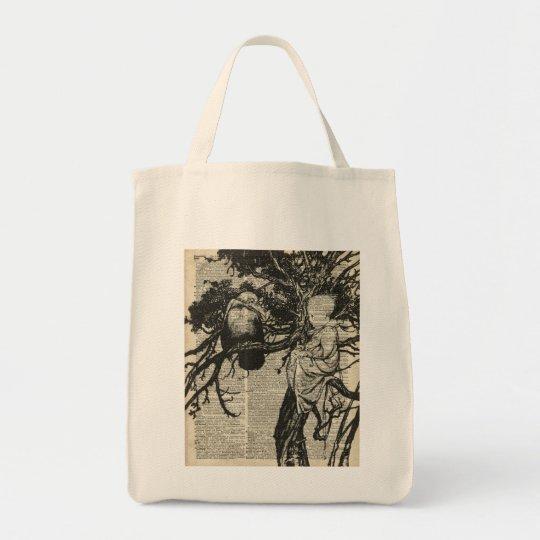 Raven and Child on a Tree Old Vintage Illustration Tote Bag