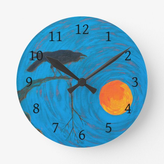 Raven and Full Moon Round Clock