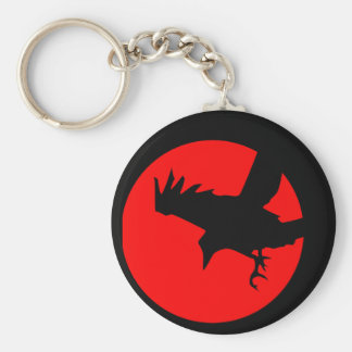 Raven and red sun basic round button key ring