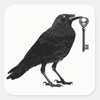 Raven And Skeleton Key Halloween Stickers