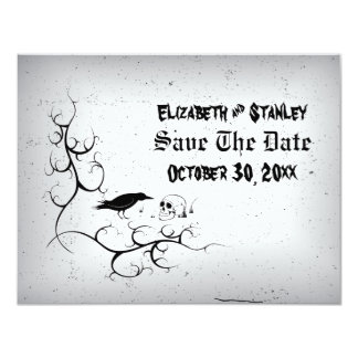 Raven and skull Gothic wedding Save the Date Card