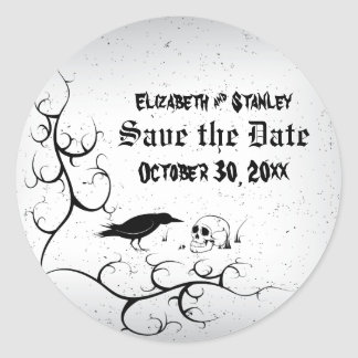 Raven and skull Gothic wedding Save the Date Classic Round Sticker