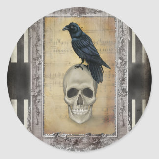 Raven and Skull halloween Classic Round Sticker