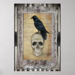 Raven and Skull halloween Poster