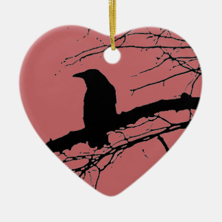 Raven Cracked Heart Christmas Ornament
