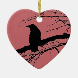 Raven Cracked Heart Christmas Ornament