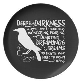 Raven (Deep Into That Darkness) by Edgar Allan Poe Dinner Plate