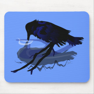 Raven Drinking Water with his Reflection Mouse Mat