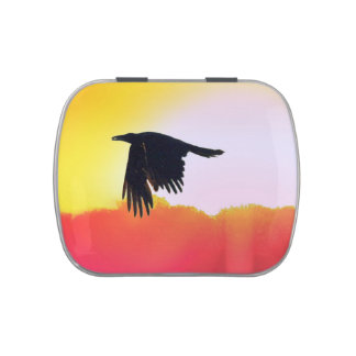 Raven Flying at Sunset Pill or Stash Box, Candy Jelly Belly Tin