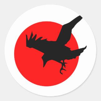 Raven full blood red moon Happy Halloween Classic Round Sticker
