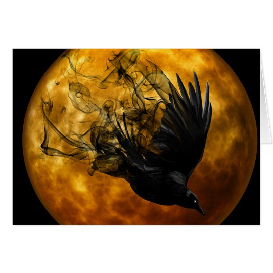 Raven Full Moon Pagan Greeting Card