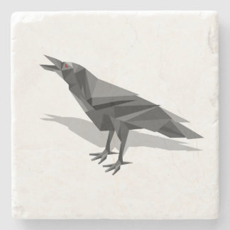 Raven Geometric Cubist Grey Triangles Stone Beverage Coaster