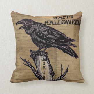 Raven Halloween Pillow Personalize Burlap Neutral