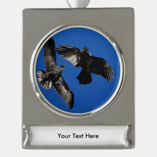 Raven in Flight Silver Plated Banner Ornament