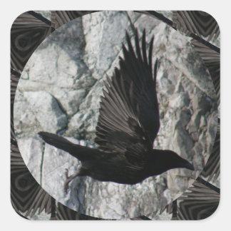 Raven in Flight Square Sticker