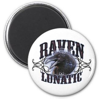 Raven Lunatic 6 Cm Round Magnet
