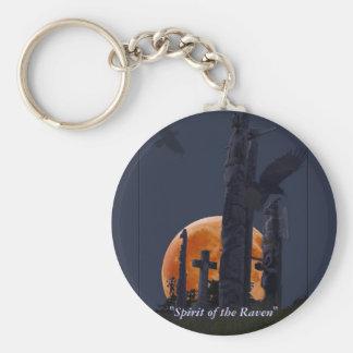 Raven, Moon & Totem Poles in Graveyard Basic Round Button Key Ring