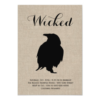 Raven on Burlap Halloween Party Invitation