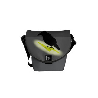 Raven on Lightning Messenger Bags
