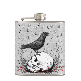 Raven on Skull Illustration Hip Flask