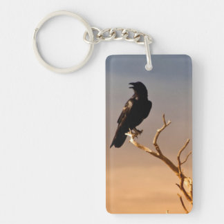 Raven on Sunlit Tree Branches, Grand Canyon Double-Sided Rectangular Acrylic Key Ring
