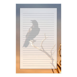 Raven on Sunlit Tree Branches, Grand Canyon Stationery Paper