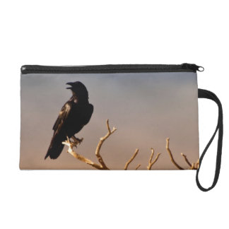 Raven on Sunlit Tree Branches, Grand Canyon Wristlet