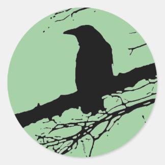 Raven on the Tree Round Sticker
