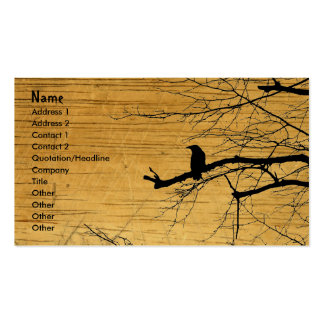 Raven on the Tree with wooden background Pack Of Standard Business Cards