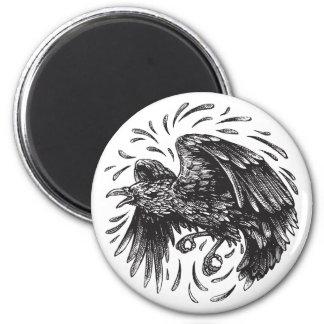 Raven Round Magnet