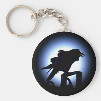 Raven Silhouette Against Full Moon Basic Round Button Key Ring
