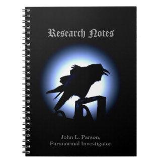 Raven Silhouette Against Full Moon Spiral Note Books