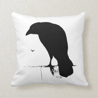 Raven Silhouette - Vintage Goth Ravens & Crows Cushion