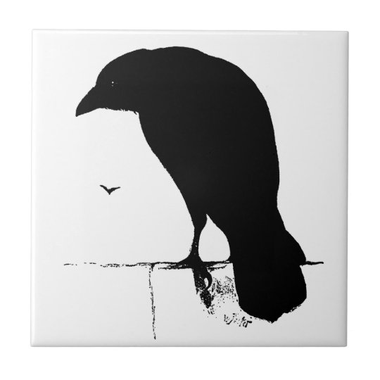 Raven Silhouette - Vintage Goth Ravens & Crows Small Square Tile