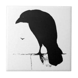 Raven Silhouette - Vintage Goth Ravens & Crows Tile