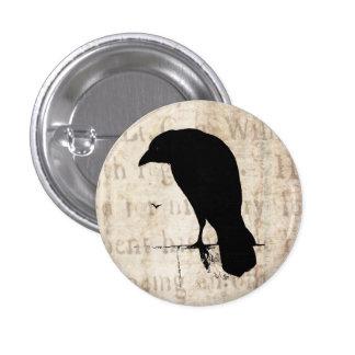 Raven Silhouette - Vintage Retro Ravens & Crows 3 Cm Round Badge