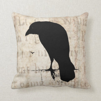 Raven Silhouette - Vintage Retro Ravens & Crows Throw Pillow