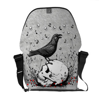 Raven Sings Song of Death on Skull Illustration Courier Bags
