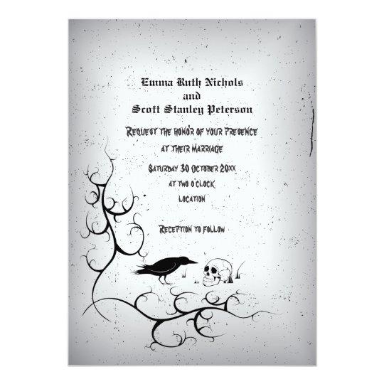 Raven, skull and ornate Gothic grey wedding Card