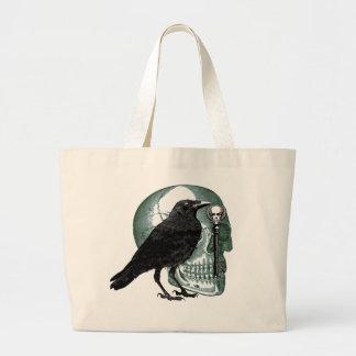 Raven Skull And Skeleton Key Jumbo Tote Bag