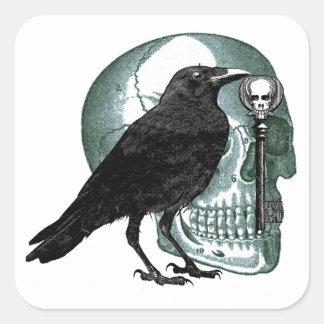 Raven Skull Skeleton Key Square Stickers