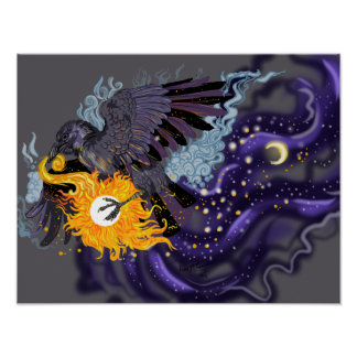 Raven Sky Folklore Poster