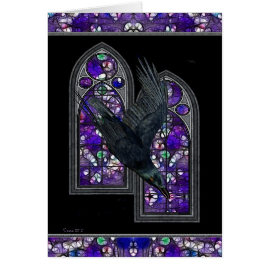Raven Stained Glass Gothic Blank Greeting card