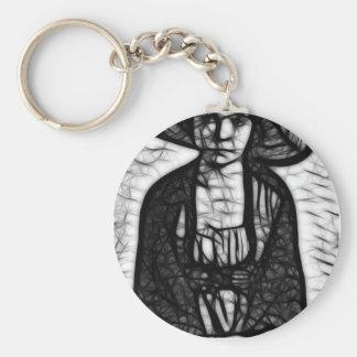 Raven Stare Basic Round Button Key Ring