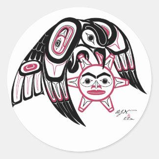 Raven Stealing the Sun Round Sticker